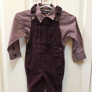 Baby Gap Burgundy Overalls with Check Shirt Outfit